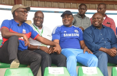 Lagos State Governor, Mr. Akinwunmi Ambode; Speaker, Lagos State House of Assembly, Rt. Hon. Mudashiru Obasa; Special Adviser on Sport to the Governor, Mr. Deji Tinubu and Member, House of Representative from Ikorodu, Hon. Jimi Benson during the Nigeria Professional Football League derby between Ikorodu United Football Club and MFM Football Club at the Agege Stadium, Lagos on Sunday, July 03, 2016.